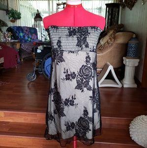 EUC Black Lace Flower Tube Dress